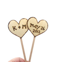 Custom Wedding Cake Topper.  Rustic and personalized with Wedding date