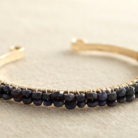 Sapphire Bracelet, Gold Bangle Bracelet, Bridal Jewelry, Gemstone Bracelet