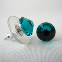 Swarovski Crystal Stud Earrings, Blue Zircon Stud Earrings, Crystal Post Earrings, Flatback Studs
