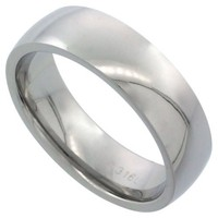 Surgical Steel 6mm Domed Wedding Band Thumb Ring Comfort-Fit High Polish, sizes 5 - 12