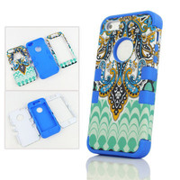 3-Piece Butterfly Tribal Tribe High Impact Hard Case Cover for iPhone 5 5G Blue