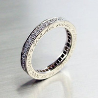 Engraved 18k white gold diamond ring by TorkkeliJewellery on Etsy