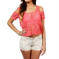 Coral Cold Shoulder Lace Top