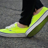 Vans Authentic Neon Yellow/True White Women's Skate Shoes