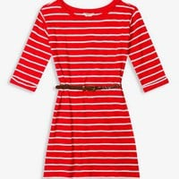 Belted Striped Dress