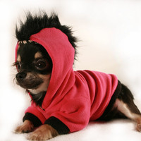 Dog Clothes Hot Pink and black fleece Mohawk Hoodie sz Medium M
