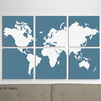 Large World Map Screen Print in Custom by CallaghanArtGallery