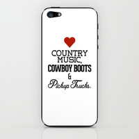 Love Country Music, Cowboy Boots &amp; Pickup Trucks iPhone &amp; iPod Skin by RexLambo | Society6