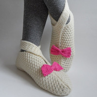 Cream Slipper Socks Lacing Socks with Pink Bow and Button