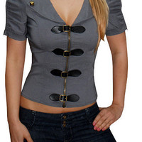 Hinges (Grey)-Great Glam is the web's top online shop for trendy clubbin styles, fashionable party dress and bar wear, super hot clubbing clothing, stylish going out shirt, partying clothes, super cute and sexy club fashions, halter and tube tops, belly a