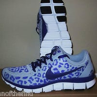 Women&#x27;s NIKE FREE 5.0 V4 Leopard Cheetah Purple Running Shoes Size 8 8.5 RARE