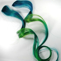 Sea Maiden / Human Hair Extension / Blue Green / Long Tie Dye Colored Hair