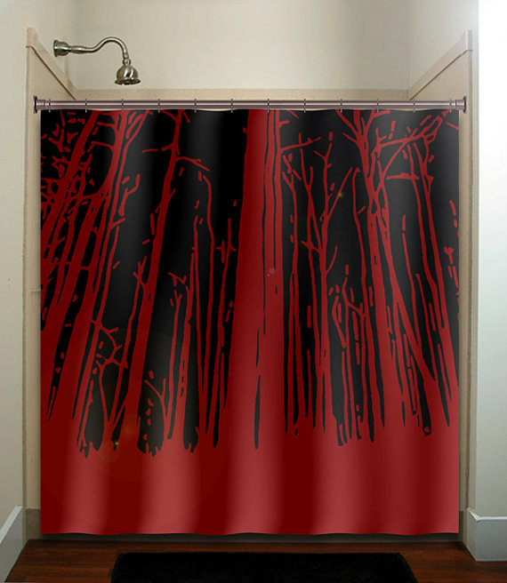 Shower Curtains Red Black White Old World Home Stylish