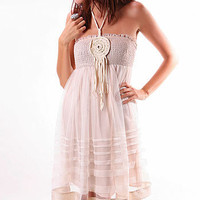 Smock Tulle Halter Dress - Cute Dresses at Pinkice.com
