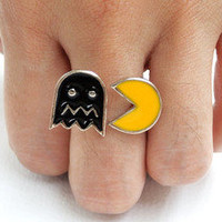 1 X Xmas Gift Present Pac-Man & Enemy Arcade Video Game Sign Logo Enameld Ring