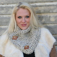 The Chunky Neck Warmer With Buttons Scarf With Buttons Women's Scarf - Barley