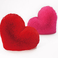 Fluffy Red Heart Shaped Decorative Pillow Classic Size