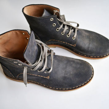 Handmade Curried Leather Women Desert Boots  by MDesignWorkshop