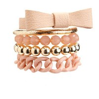 Pleather Bow & Chains Bracelet Set: Charlotte Russe