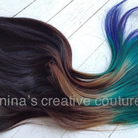 Peacock Ombre, Black Hair extensions with a quick fade to brown,  green and blue,  7 Pieces,20""