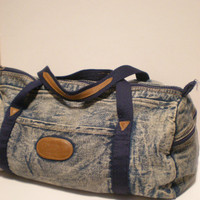 Acid Washed Jean Duffle Bag by PollutedEssence on Etsy