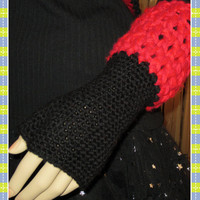Valentines Black with Red Cuff Fingerless Gloves by ArtisticFunk