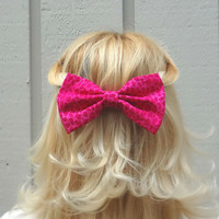 Hot pink cheetah bow hair clip - big bow - bow barrette - animal print - kawaii - retro