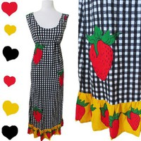 Vintage 70s STRAWBERRY Boho Black GINGHAM Hippie MAXI Dress S LONG Novelty Print