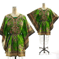 70s Batik Dashiki Caftan Top with Tie Belt by nickiefrye on Etsy