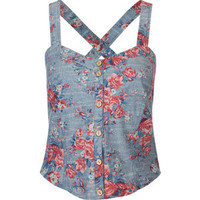 FULL TILT Floral Chambray Corset 208964957 | Corsets | Tillys.com