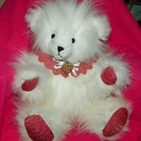 Stuffed Animal Teddy Bear Fluffy White Fur Vintage Heart Pin Valentines Day OOAK