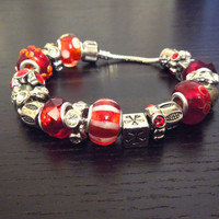 Red and Silver Big Bead Bracelet