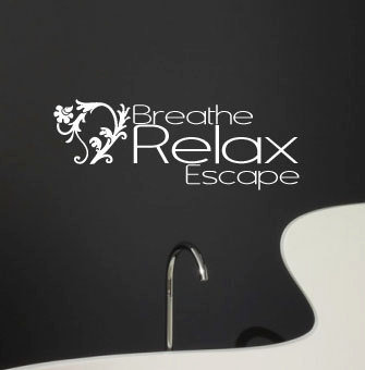 Spa Vinyl wall decal breath relax escape vinyl by MommyofTyDesigns