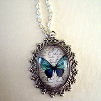 Original Ocean Blue Watercolor Butterfly Pendant with Link Chain