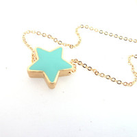Aqua turquoise star necklace on gold plated dainty chain, white tiny star necklace ,gift under 15