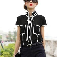 Black Bow Chiffon Shirt S009993