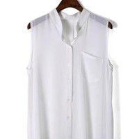 White Laidback Pocket Chiffon Top S010008