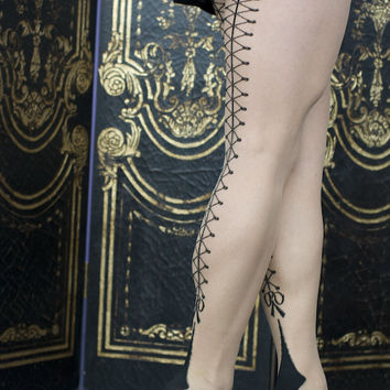 Socks By Sock Dreams  » Socks » Faux Corset Cuban Heel Pantyhose