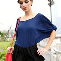 Blue Hollow Bow Chiffon Shirt S010013