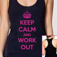Keep Calm And Work Out Tank Fitness Womens top  American Apparel  Racerback S, M, L