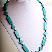 Geometric Turquoise necklace and earrings set by WakeUpTheAngel
