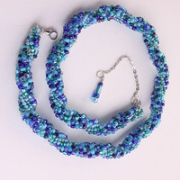 Breeze ocean and lagoon blues seed bead bead by WakeUpTheAngel