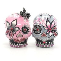 Amazon.com: Day of Dead Mexican Day of the Dead Couple Skull Lover Wedding Cake Toppers Day of The Dead A00073 Gothic Wedding Calavera Ceramic Handmade: Everything Else