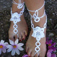 WHITE ROSES handmade beautiful barefoot sandals by dachuksb7196
