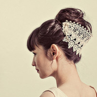 Venetian lace hairpiece style 124 by mignonnehandmade on Etsy