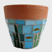 Goldfish Fish Pond Mosaic Garden Plant Pot by JoSaraUK on Etsy