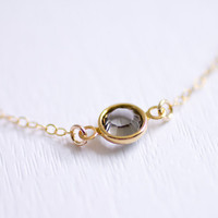 Tiny sparkle - smoky round crystal gem necklace on gold filled chain - simple modern jewelry by AmiesAmies