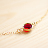 Tiny dorothy - ruby red sparkly crystal gem necklace on gold filled chain - dainty everyday jewelryby AmiesAmies