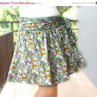 Valentine Sale Mini Skirt, Green and Yellow Floral Rayon with Sash Belt
