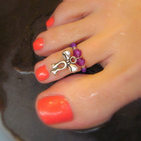Toe Ring, Amethyst, Swarvoski Crystals, Metal, Bow, Charm, Bead Toe Ring